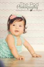 peach and teal baby photo chevron and lace romper