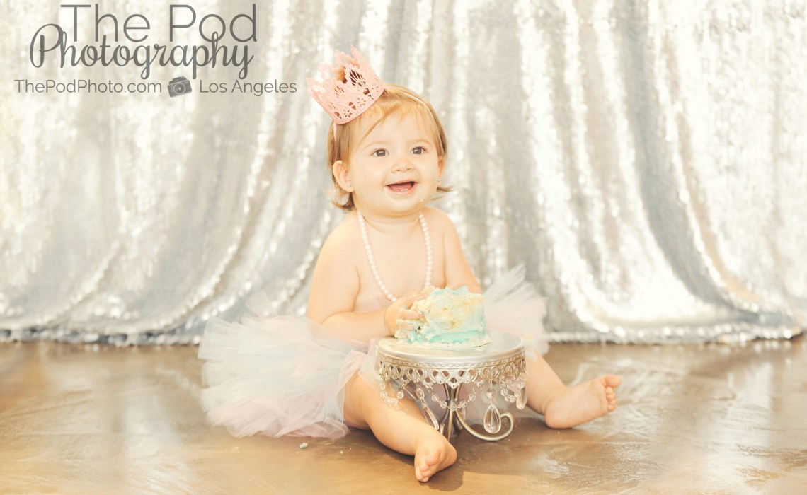 Best-First-Birthday-Cake-Smash-Photographer-Los-Angeles-SusieCakes-Teal-White-SIlver-Sequins-Pink-Tutu-Crown-Brentwood-Party