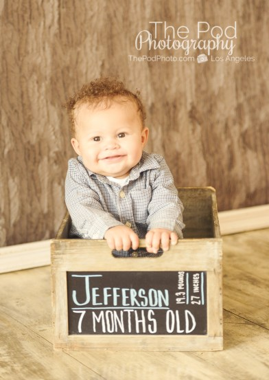 Best-Baby-Portrait-Photographer-Manhattan-Beach-Seven-Months-Old-Stat-Box-Chalkboard-Name-Crate