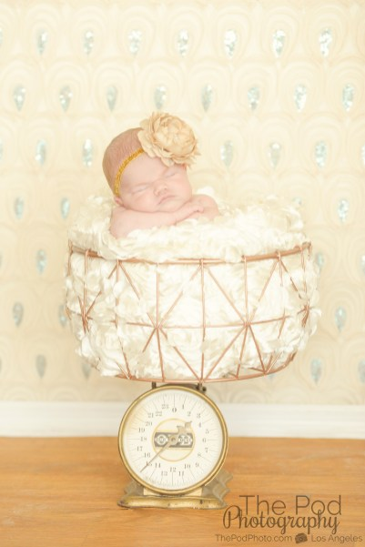 creative-newborn-photographer-sherman-oaks-gold-scale