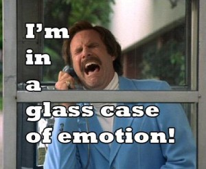 ron burgundy glass case of emotion
