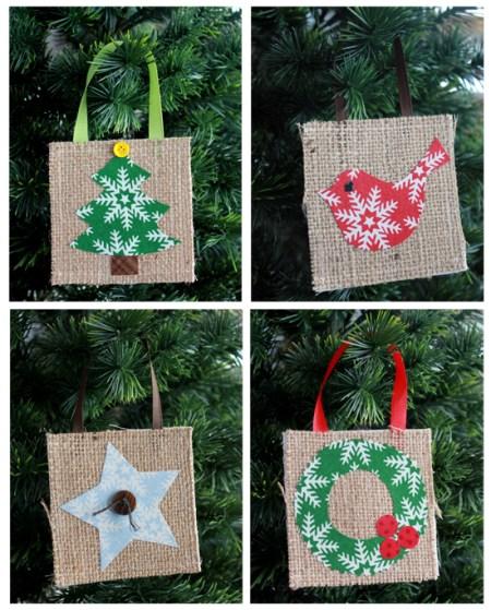 Burlap Christmas Ornaments