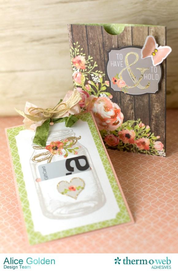 Alice Golden DecoFoil Rustic Elegance Wedding Gift Card Holder 2