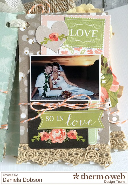 Just Married mini album page 4 by Daniela Dobson for Therm O Web