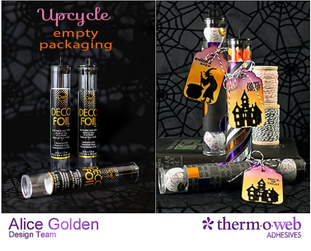 Alice Golden TOW DecoFoil Upcycle Halloween Treat Containers 1