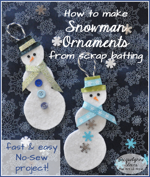 Batting Snowman Ornaments- Jacquelynne Steves