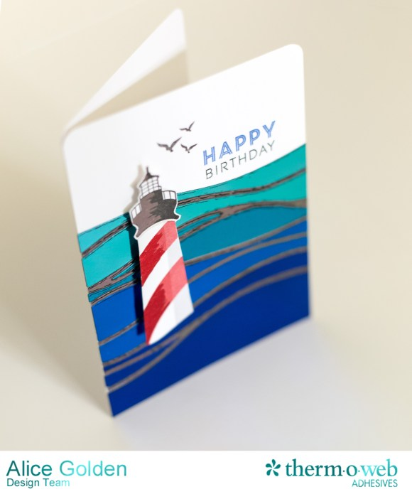 Alice Golden Therm O Web 2016 CHA Winter Foiled Lighthouse Birthday Card2