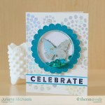 Celebrate Birthday Shaker Card by Juliana Michaels featuring Therm O Web Deco Foil and Glitter Dust Frames
