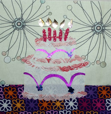 appliqued foiled cake block
