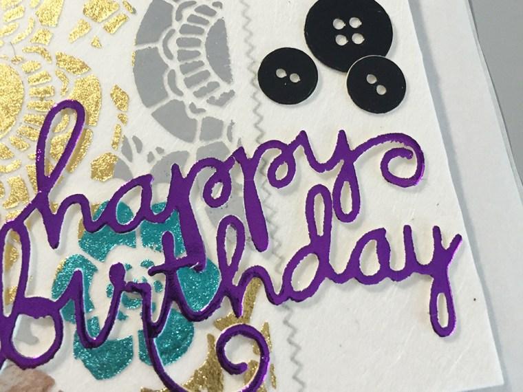 Happy Birthday Embossed Paste Deco Foil Card