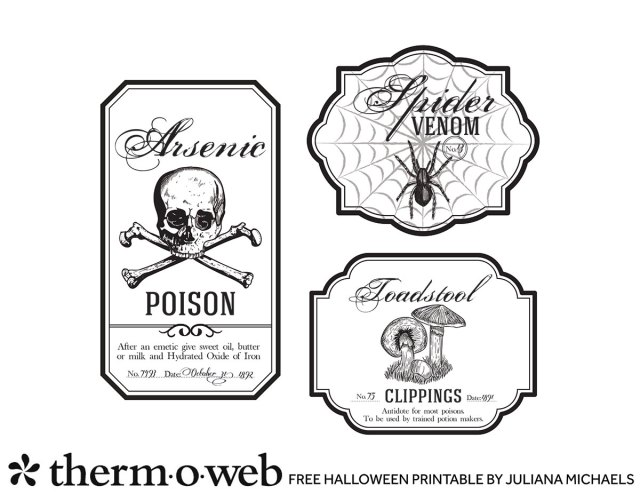 Halloween Bottle Labels Free Printable by Juliana Michaels