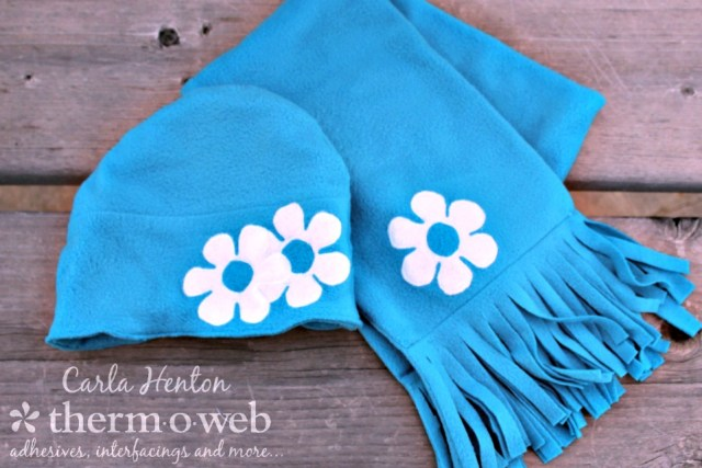 Appliqued Fleece Hat and Scarf with HeatnBond Soft Stretch