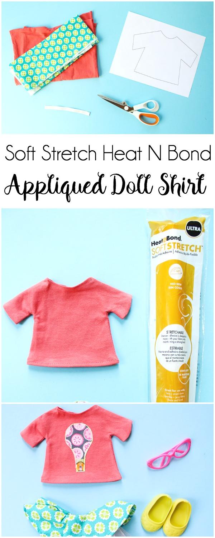 Soft Stretch Heat N Bond Appliquéd Doll Shirt   www.blog.thermoweb.com