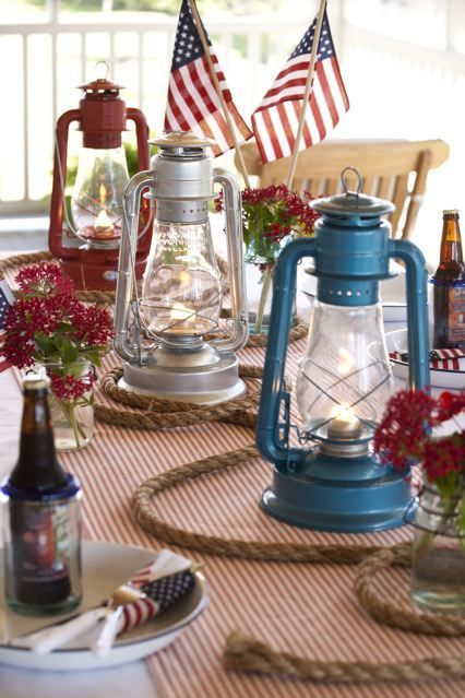 Nautical Themed Fourth of July Table Decor