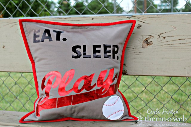 Carla Henton for Thermoweb Baseball Pillow Cover with deco foil and fusible fleece
