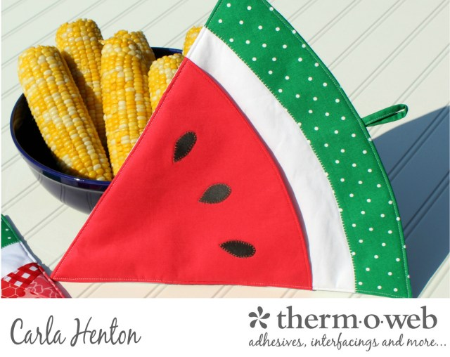 Watermelon hot pad potholder quilted fusible fleece oven mitt for thermoweb by Carla Henton