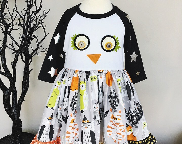 Halloween Blend Fabric Owl Shirt Dress