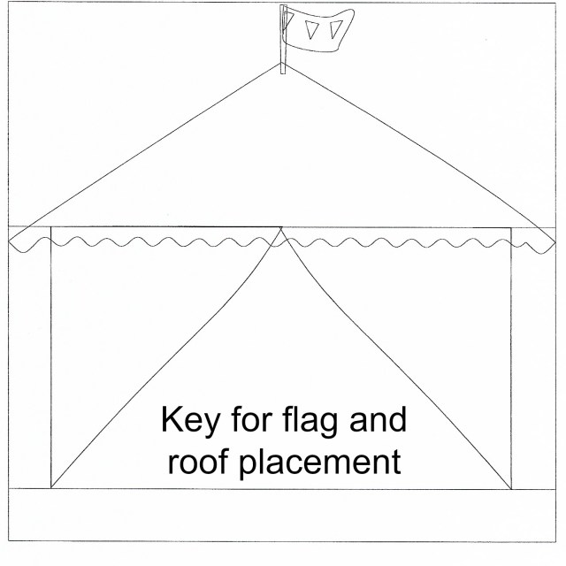 big top circus pillow applique roof and flag placement key for Thermoweb by Carla Henton