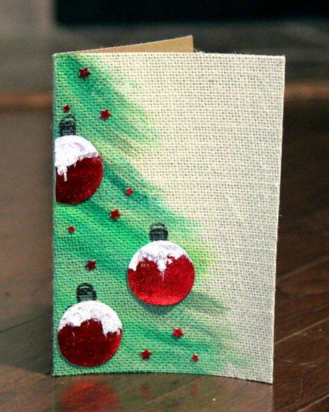 Deco Foil Burlap Christmas Card by Rita Barakat