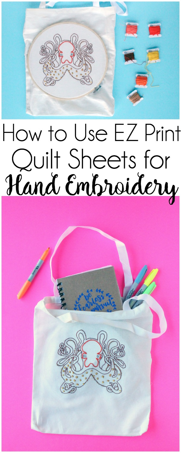 Using EZ Print Quilt Block Sheets for Hand Embroidery