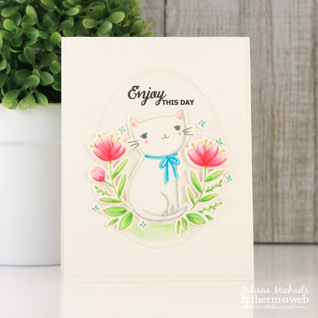 Enjoy Your Day Card with Waffleflower Stamps and Therm O Web Foam Adhesive