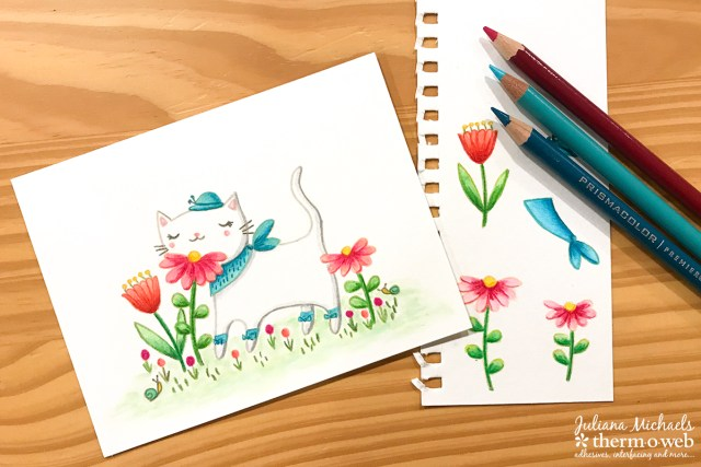 No Line Watercoloring and Colored Pencils with Waffleflower Stamps
