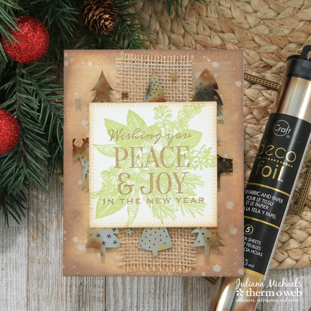 Rustic Holiday Card with Therm O Web Deco Foil and Clear Toner Sheets by Juliana Michaels