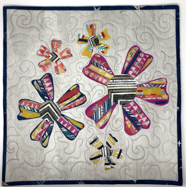 Quilted Strippy Flower Mini Quilt by Kim Lapacek