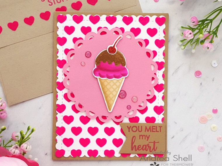 Ice Cream Valentine Card by Andrea Shell   Sweet Stuff stamp by Therm O Web