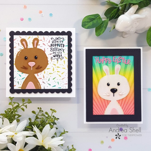 Flocked Easter Bunny Cards by Andrea Shell