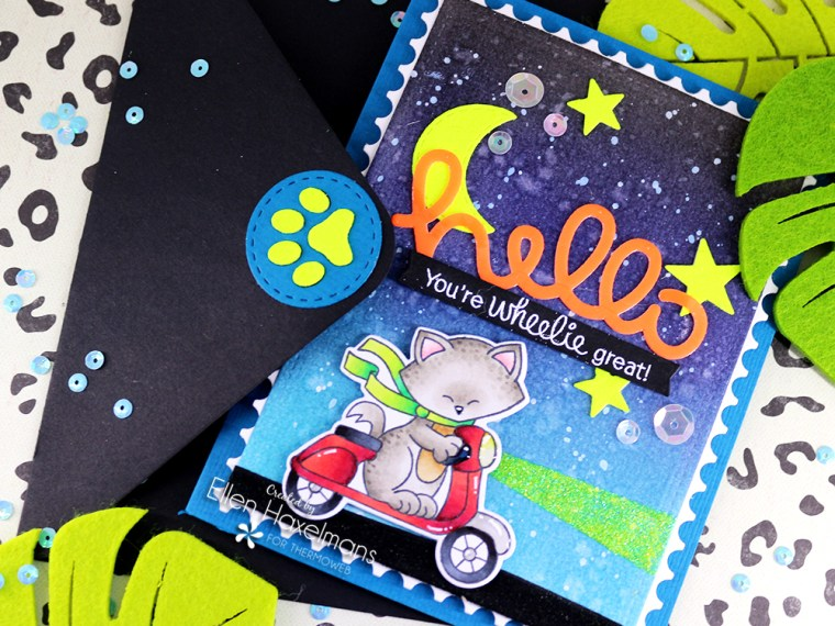 Card with Neon Flock and Stencils