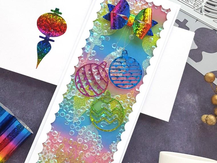 Rainbow Holiday Slimline Shaker card by Andrea Shell