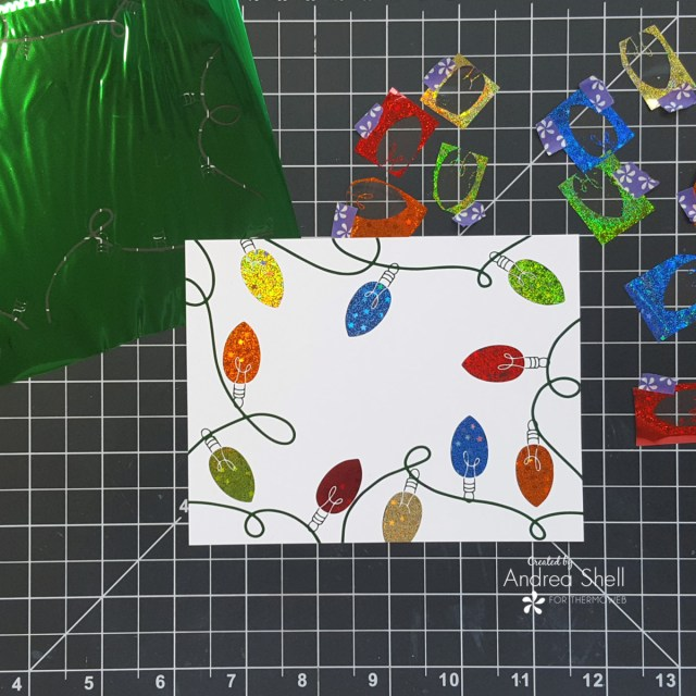 Holly Jolly Christmas Lights card by Andrea Shell | Holiday Lights Toner Front by Therm O Web