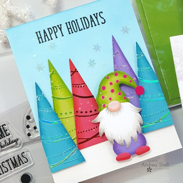 Holiday Gnomes card by Andrea Shell | Gnome for the Holidays kit by Therm O Web