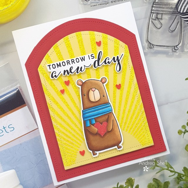 New Day Bear Card by Andrea Shell | Mixed Messages and Big Bear stamps from Reverse Confetti