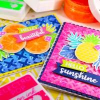 Colorful Stenciled Glitz Glitter Gel Fruit Cards