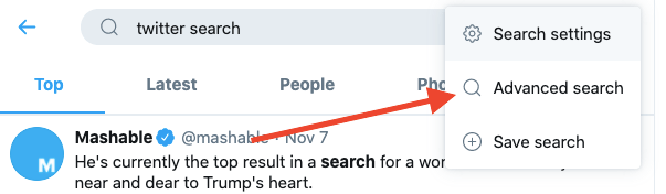 How to find the Twitter advanced search on Twitter