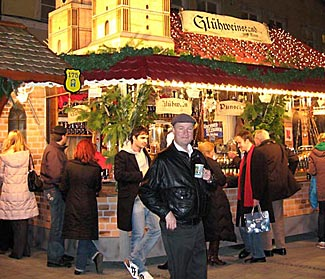 One of the Christmas markets, blazing with light in the evening