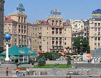 Bustling downtown Kyiv.  We visit on day 14.