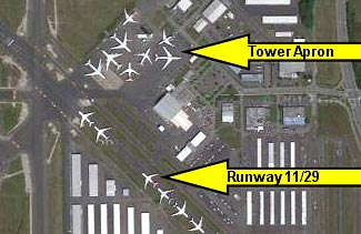 Part of a larger aerial image showing the growing number of parked 787s at Boeing's Everett plant, a couple of weeks ago.