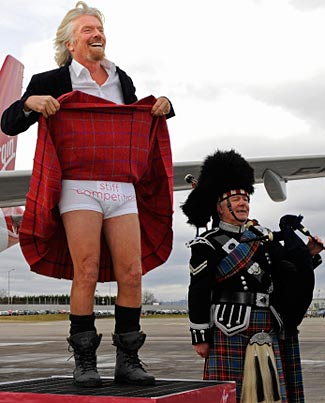 Sir Richard Branson vows to bring 'stiff competition' to flights between Edinburgh and London.  No wonder Scotland wants to separate out of Britain.
