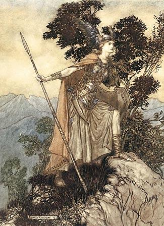 One of Arthur Rackham's distinctive illustrations of The Ring score, this one showing Brunnhilde.