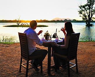 A candle-light dinner with a difference at the multiple award winning Cinnamon Lodge Habarana, where our Sri Lanka tourmembers will enjoy three lovely nights next February.