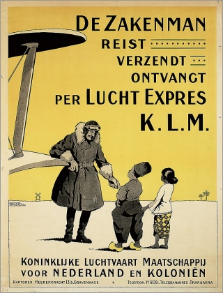 This poster is thought to date back to the founding of KLM in 1919.  It says 'The Businessman Travels.... Sends (mails).... Receives.... per (with/via/by) Air Express KLM'.