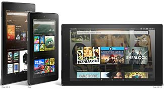 "Amazon's lineup of new 8"", 7"" and 10"" tablets."