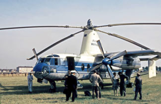 The Fairey Rotodyne was an experimental hybrid helicopter/plane, carrying 40 passengers up to 450 miles at 185 mph. It never went into commercial production. See article below.