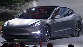 The now revealed Tesla Model 3.