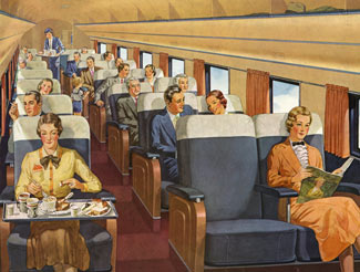 Although often more utilitarian - sometimes with a cabin split on one side for freight and the other side for passengers, the DC-3 could also be luxurious, as in this late 1930s image.