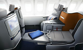 New (2016) style business class with lie-flat seats on Lufthansa