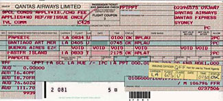 An old style airline ticket and an 'infamous' revalidation sticker - many a trick has been played on airlines with them!